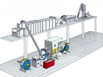 Aluminium-Butzen-Stanzanlage mit Gleitschliff-, Wasch-, Trocknungs- und Bunkeranlage.