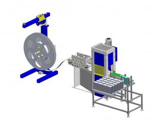 WANZKE ECO Vier-Säulen-Presse mit Vorschubrichtmaschine, Abwickelhaspel und Abstapelvorrichtung